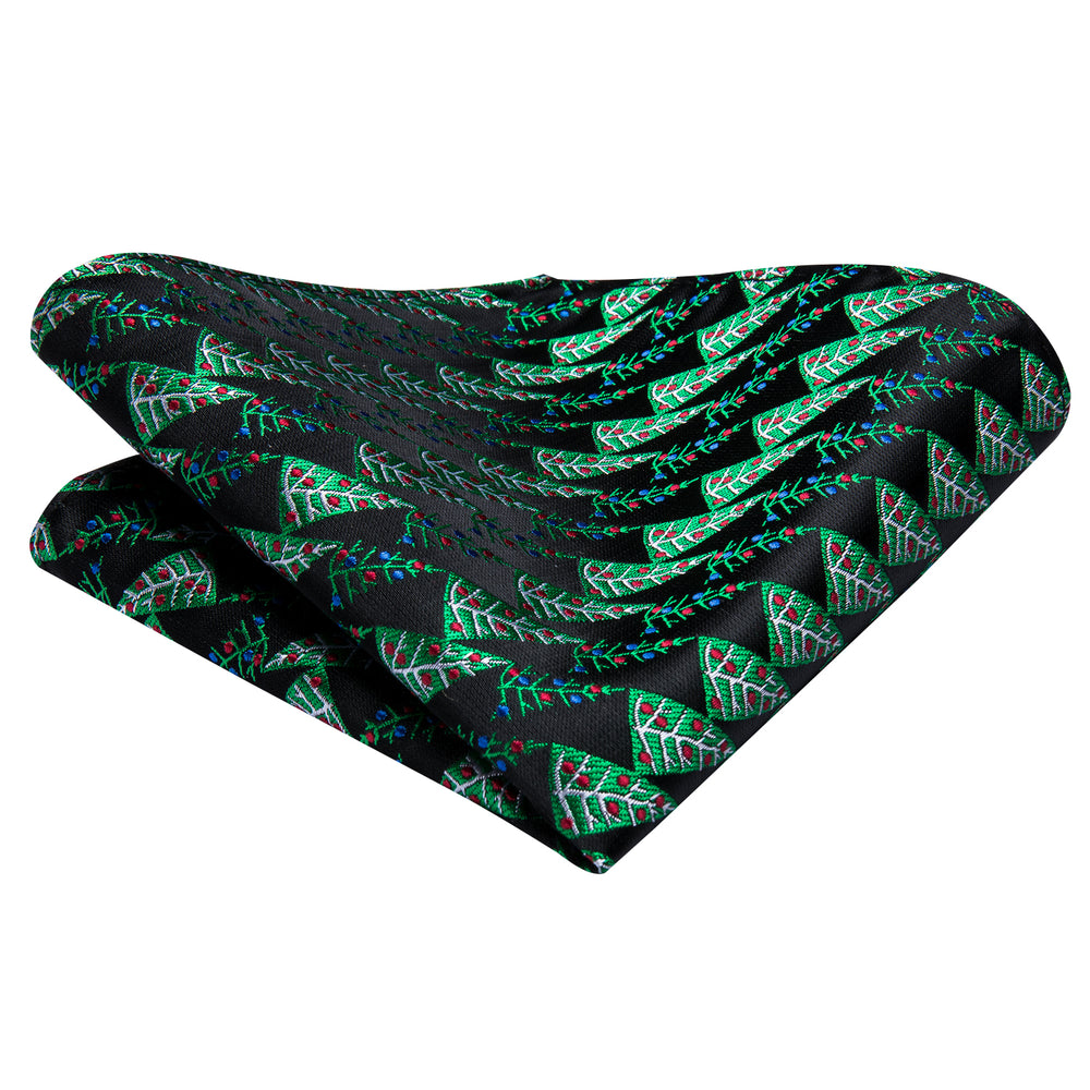 Novelty Green Black Christmas Tree Men's Tie Pocket Square Cufflinks Set