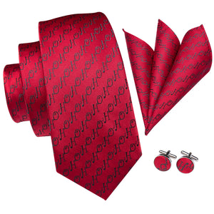 Load image into Gallery viewer, Novelty Red Letters Men's Tie Pocket Square Cufflinks Set