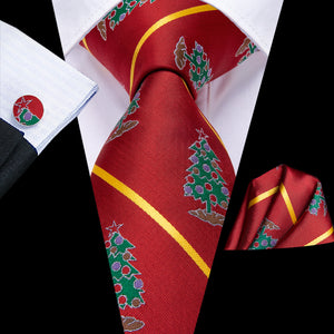 Christmas Tree Red Tie Handkerchief Cufflinks Set