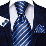 Hot Blue Striped Tie Handkerchief Cufflinks Set