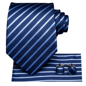 Hot Blue Striped Tie Handkerchief Cufflinks Set (450250178602)