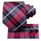 Blue Red Plaid Tie Handkerchief Cufflinks Set