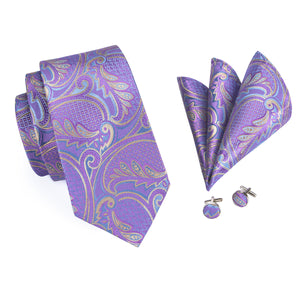 Load image into Gallery viewer, Purple Paisley Tie Pocket Square Cufflinks  Brooch Set