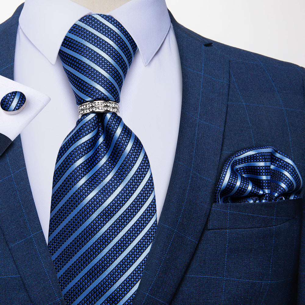 Blue Striped 4PCS Silk Men's Tie Pocket Square Cufflinks with Tie Ring Set