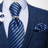Blue Striped Silk Men's Tie Ring Handkerchief Cufflinks Set