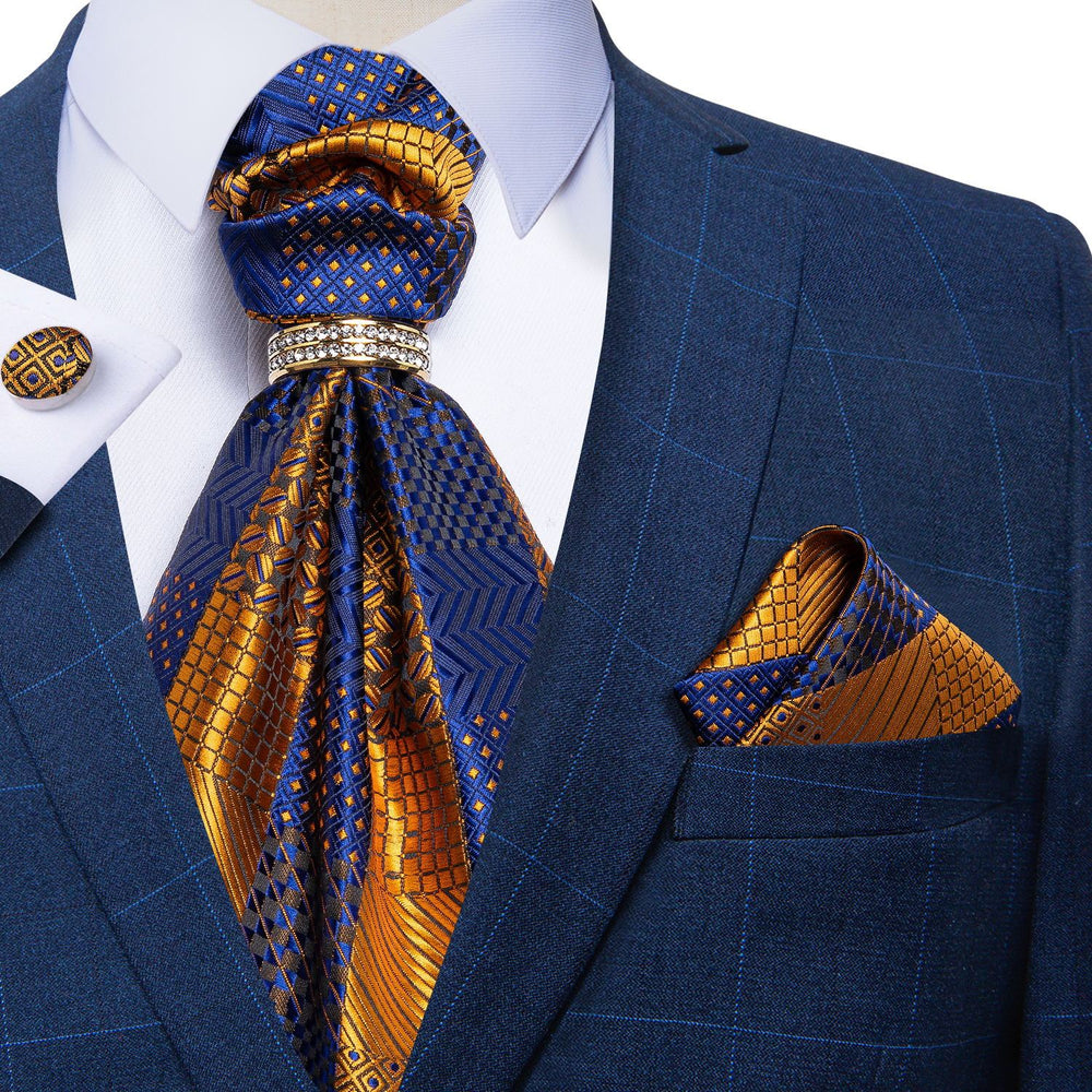 Blue Yellow Plaid Silk Cravat Woven Ascot Tie Pocket Square Cufflinks With Tie Ring Set