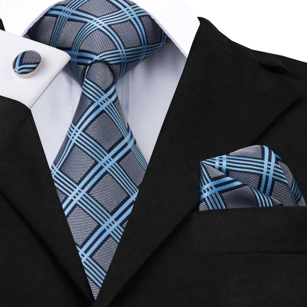 Load image into Gallery viewer, Grey Blue Plaid Tie Pocket Square Cufflinks Set