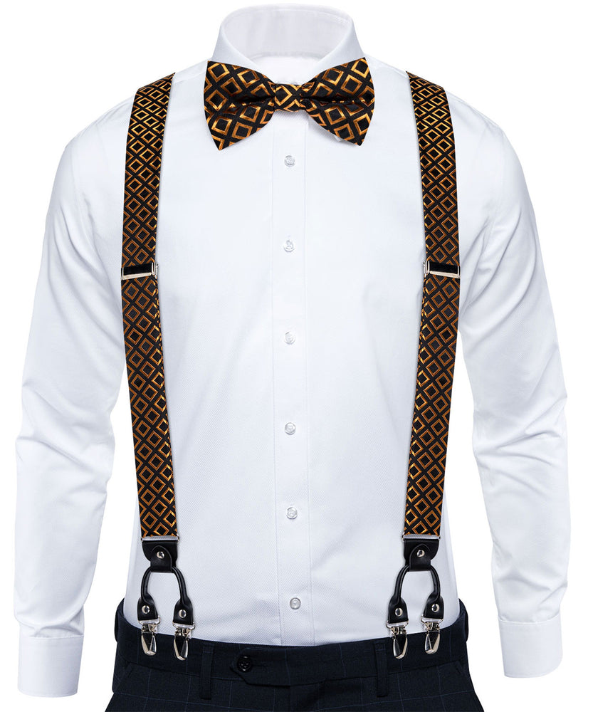 Black Golden Geometric Brace Clip-on Men's Suspender with Bow Tie Set