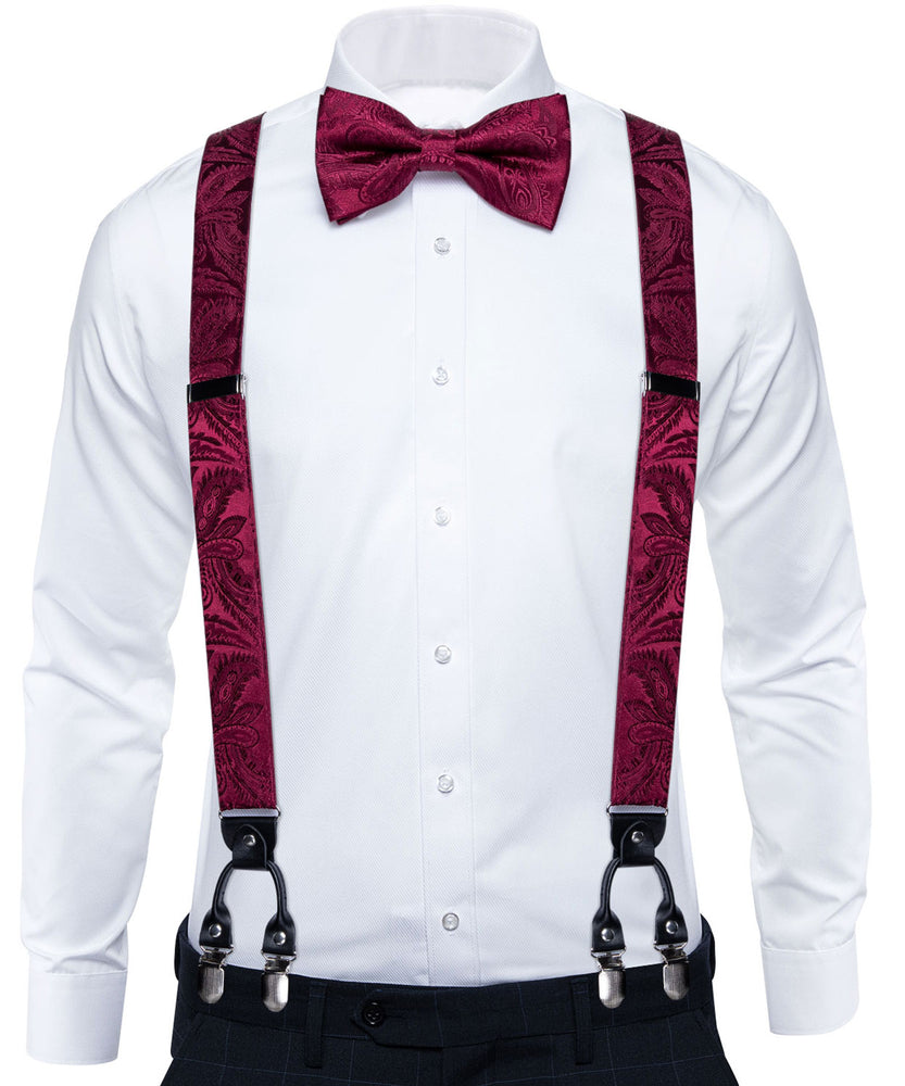 Burgundy Paisley Brace Clip-on Men's Suspender with Bow Tie Set