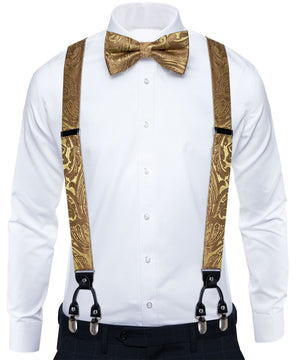 Load image into Gallery viewer, Yellow Brown Brace Clip-on Men's Suspender with Bow Tie Set