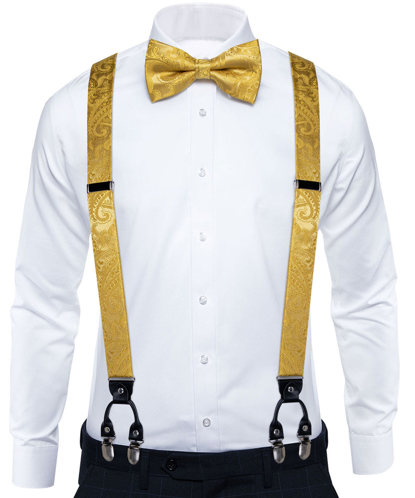 Yellow Paisley Brace Clip-on Men's Suspender with Bow Tie Set