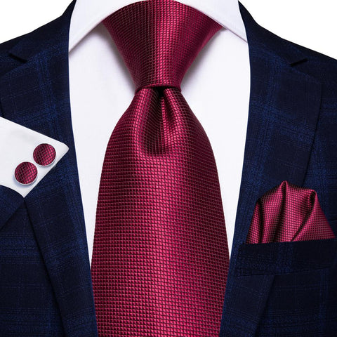 Red Solid Necktie Hanky Cufflinks Set