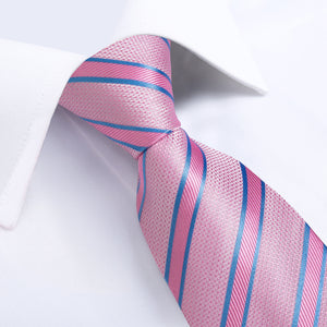 Load image into Gallery viewer, Pink Blue Striped Men's Tie Handkerchief Cufflinks Clip Set