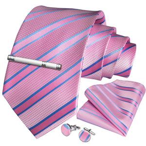 Pink Blue Striped Men's Tie Handkerchief Cufflinks Clip Set