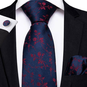 4PCS Blue Red Floral Men's Silk Tie Pocket Square Cufflinks with Tie Ring Set