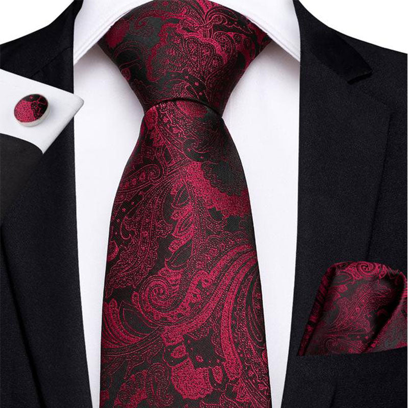 Black Red Floral Men's Tie Handkerchief Cufflinks Set