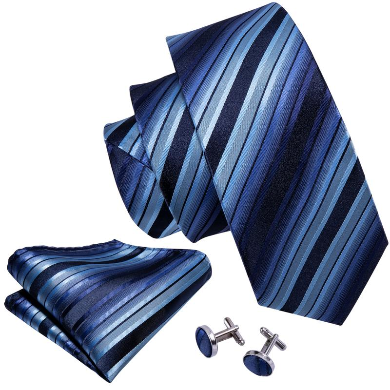 Load image into Gallery viewer, Blue Black Striped Men's Tie Pocket Square Cufflinks Set