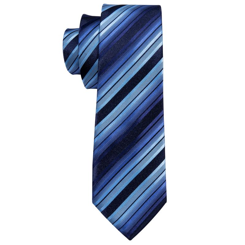 Load image into Gallery viewer, Blue Black Striped Men's Tie Pocket Square Cufflinks Set (1918726602794)