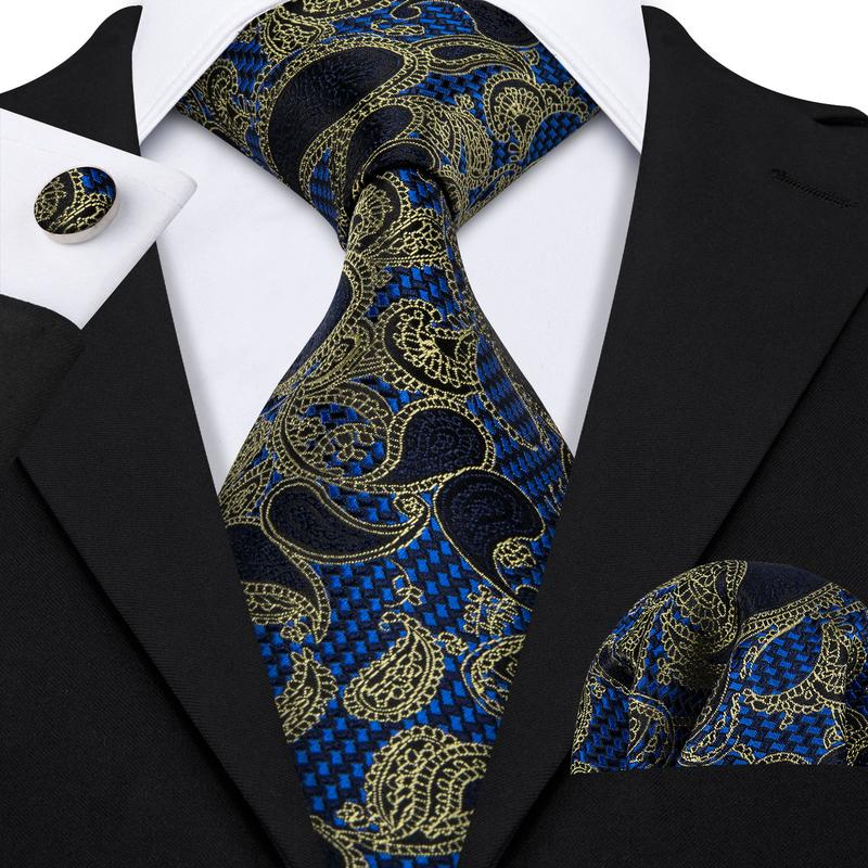 Load image into Gallery viewer, Yellow Blue Black Paisley Men's Tie Pocket Square Cufflinks Set