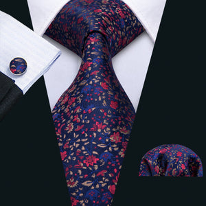 Men's Blue Red Floral Tie Pocket Square Cufflinks Set (1802951262250)