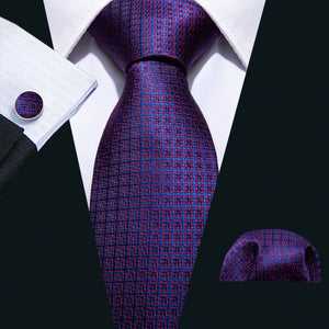 Load image into Gallery viewer, Purple Geometry Pattern Pocket Square Cufflinks Set