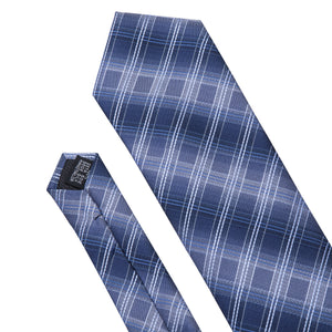 Load image into Gallery viewer, Unique Blue Grey Plaid Tie Pocket Square Cufflinks Set
