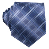 Unique Blue Grey Plaid Tie Pocket Square Cufflinks Set
