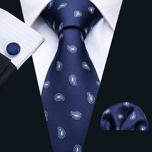 Unique Blue Men's Silk Tie Handkerchief Cufflinks Set (1737553674282)