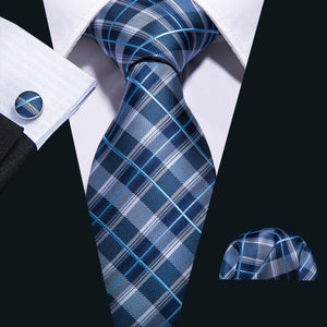 White Blue Plaid Men's Tie Pocket Square Cufflinks Set