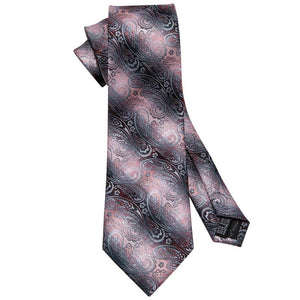 Pink Black Paisley Men's Tie Pocket Square Cufflinks Set (1920301400106)