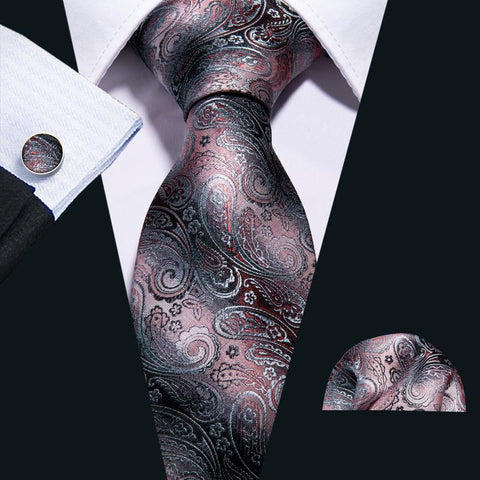 Pink Black Paisley Men's Tie Pocket Square Cufflinks Set