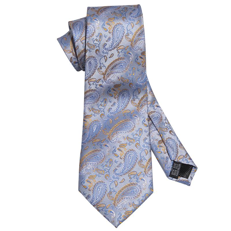 Blue Yellow  Paisley Men's Tie Pocket Square Cufflinks Set