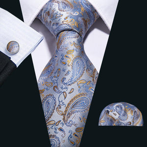 Load image into Gallery viewer, Blue Yellow  Paisley Men's Tie Pocket Square Cufflinks Set