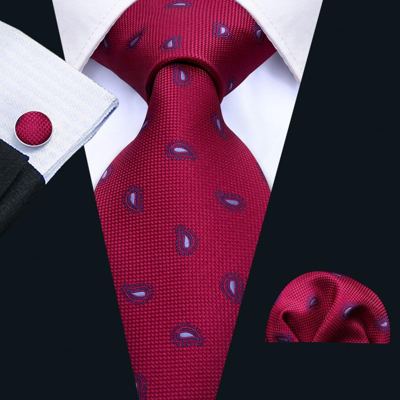 Red Paisley Men's Tie Pocket Square Cufflinks Set