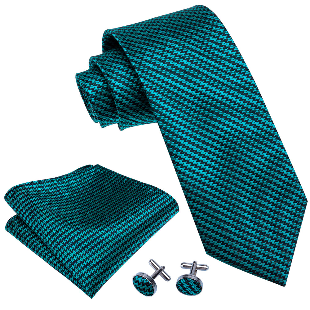 Load image into Gallery viewer, Men's Dark Green Striped  Tie Set (1802964729898)