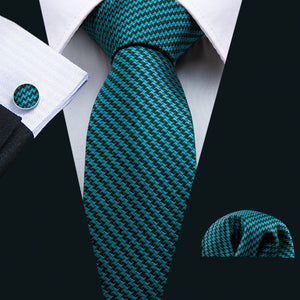 Men's Dark Green Striped  Tie Set (1802964729898)
