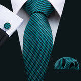 Men's Dark Green Striped  Tie Set