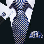 Attractive Men's Blue Golden Striped Tie Pocket Square Cufflinks Set