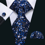 Attractive Men's Blue White Floral Tie Set