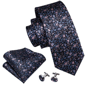 Load image into Gallery viewer, Black Pink Floral  Men's Tie Pocket Square Cufflinks Set (1920306741290)