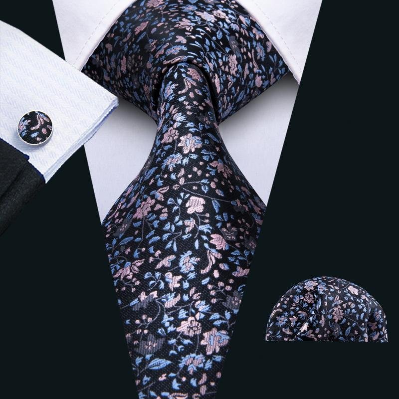 Black Pink Floral  Men's Tie Pocket Square Cufflinks Set