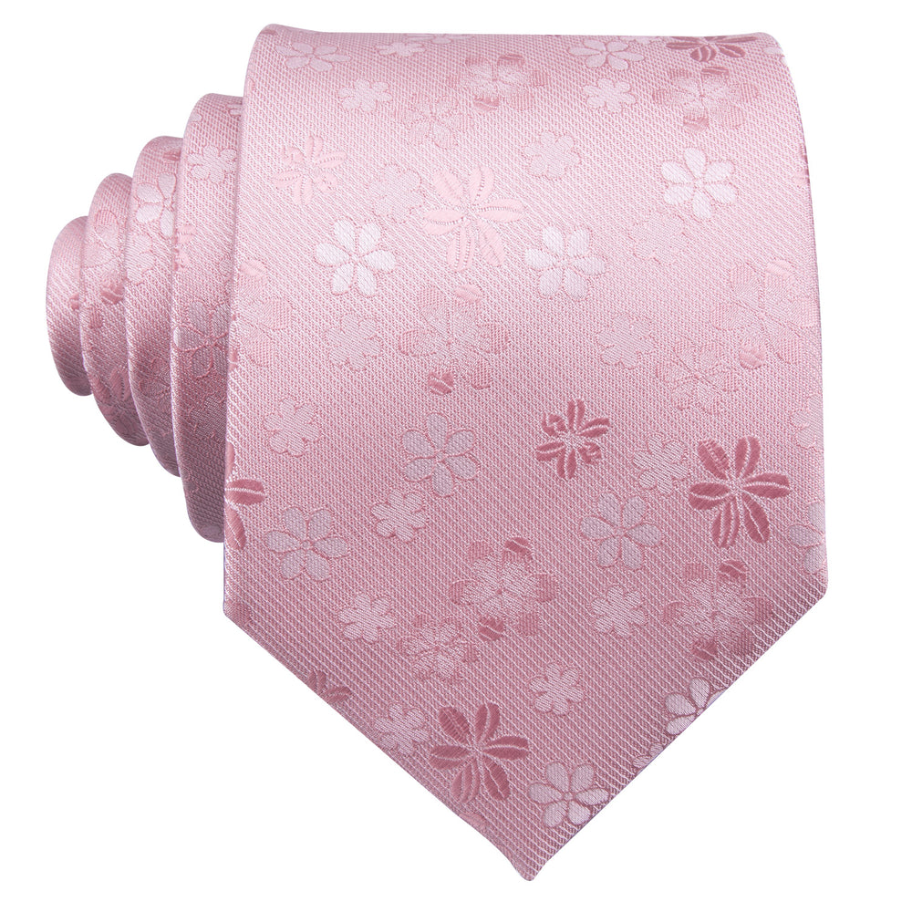 Load image into Gallery viewer, Men's Pink Floral Tie Handkerchief Cufflinks Set (1802967941162)
