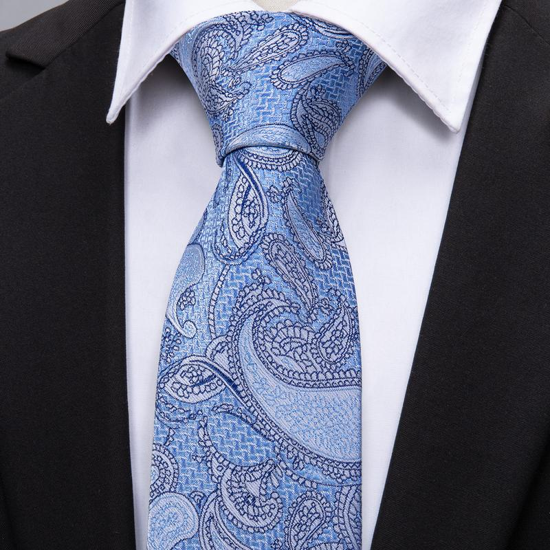 Load image into Gallery viewer, Light Blue Paisley Men's Tie Pocket Square Cufflinks Set