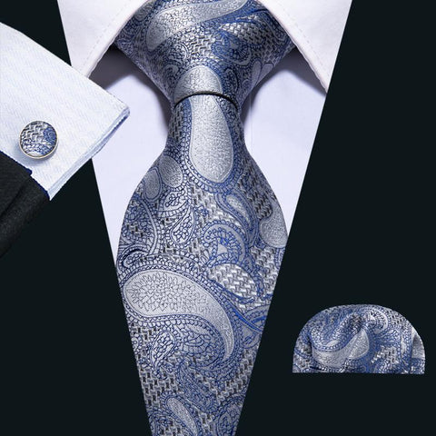 Blue Grey Paisley Men's Tie Pocket Square Cufflinks Set