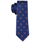Dark Blue Red Paisley Men's Tie Pocket Square Cufflinks Set