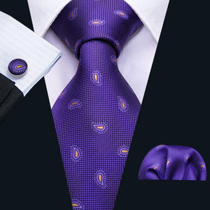 Purple Yellow Paisley Men's Tie Pocket Square Cufflinks Set