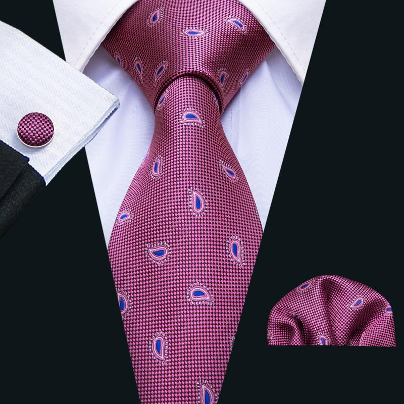 Load image into Gallery viewer, Purple Blue Paisley Men's Tie Pocket Square Cufflinks Set