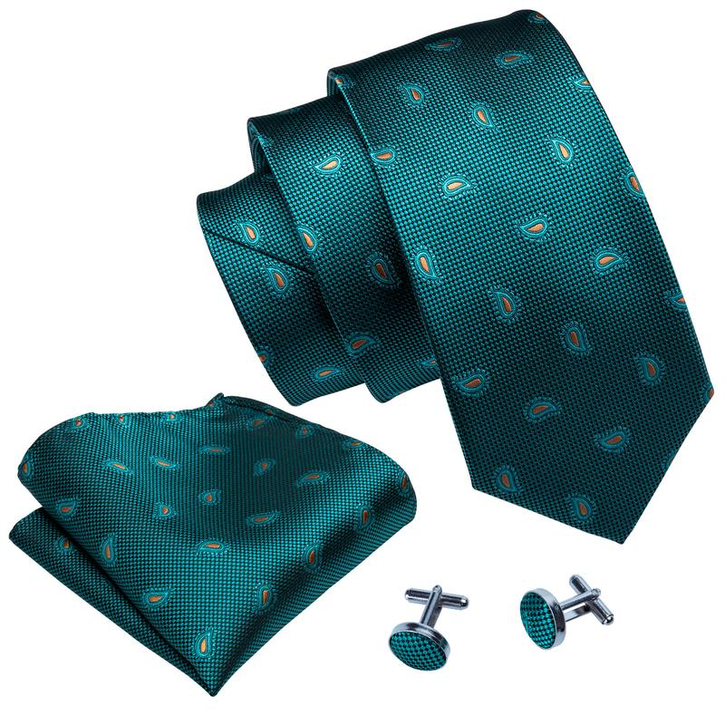 Load image into Gallery viewer, Green Orange Paisley Men's Tie Pocket Square Cufflinks Set