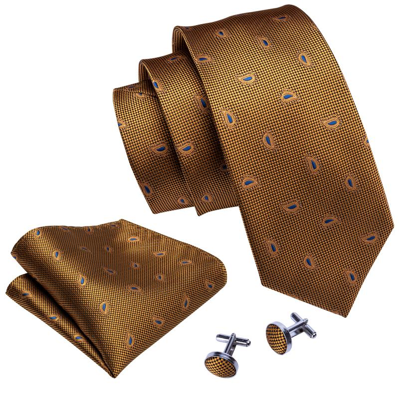 Load image into Gallery viewer, Brown Blue Paisley Men's Tie Pocket Square Cufflinks Set