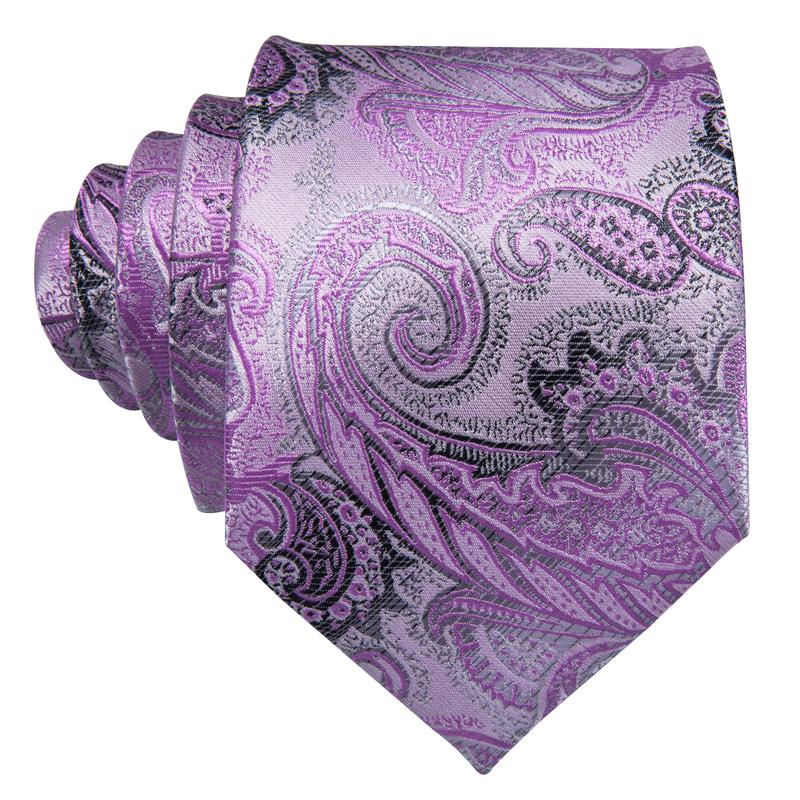 Purple Grey Paisley Men's Tie Pocket Square Cufflinks Set